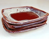 Square Dessert or Snack Plate in Red Agate - Made to Order