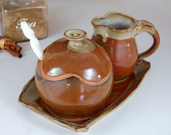 Creamer And Sugar Jar Set with Tray in Brownstone- Made to Order