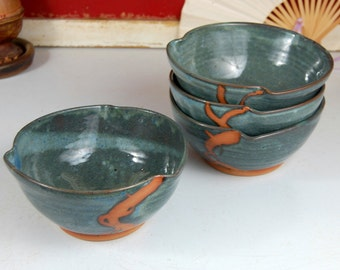 Soup Bowl in Slate Blue with Rust Chain - Made to Order