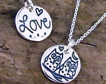 Love Owl Necklace - Love Birds Charm - Owl Wedding Jewelry Lovebirds Necklace