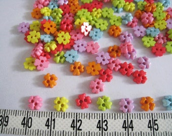 100pcs of Four Petal Flower Buttons - 6 mm - Set B red yellow blue pink purple lime green orange