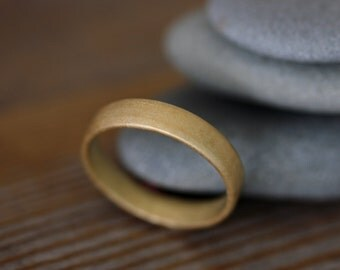 14k  Gold  Wedding Band, Comfort Fit Ring in Recycled Yellow or Rose Gold Men's Band
