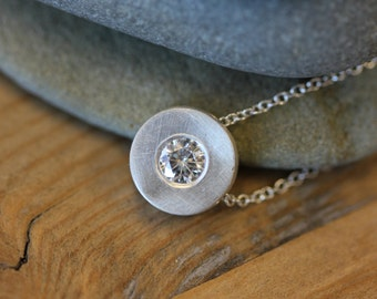 Moissanite and Sterling Silver Slide Pendant,  Diamond Alternative Solitare Pendant, Recycled Sterling and Eco Friendly