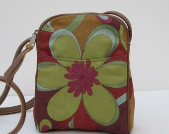 SMALL SHOULDER BAG  Fabric and Leather Flower Power