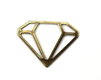 Charms Stamping Geometric Diamond US Made and Plated Brass Ox 22x17mm (4) CP179