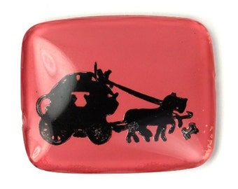 Vintage Glass Intaglio Horse and Carriage Pink and Black (1) VIC286