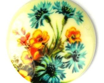 Vintage Floral Cameo Cabochon Plastic 30mm - Blue and Orange (1) VIC294
