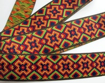 3 yards ETHIOPIA Jacquard trim in red, green, yellow, orange, black. Dark brown edges. 1 7/8 inch wide. 952-A