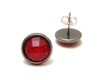 Ruby Red Glitter Studs - Super sparkly bright red glitter rhinestones on gunmetal post earrings