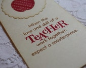 Handmade Vintage Style Stamped Teacher Bookmark - Thank You Gift - Apple