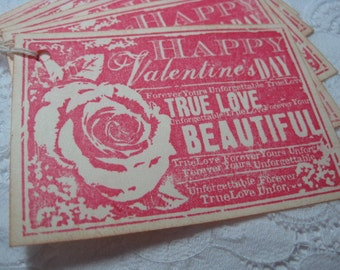 Vintage Style Valentines Day Gift Tags - Red Rose