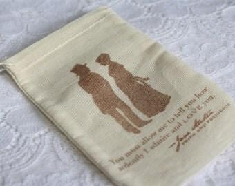 Jane Austen Muslin Favor Bags Bridal Shower Stamped Wedding Pride and Prejudice
