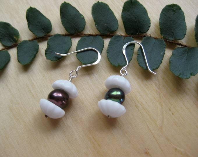Insouciant Studios Oyster Earrings Sterling Silver and Green Pearls