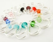 1 Heart - 20 gauge Sterling Heart Piercing with Swarovski Crystal - You Pick Color - Cartilage Piercing or Regular Earring