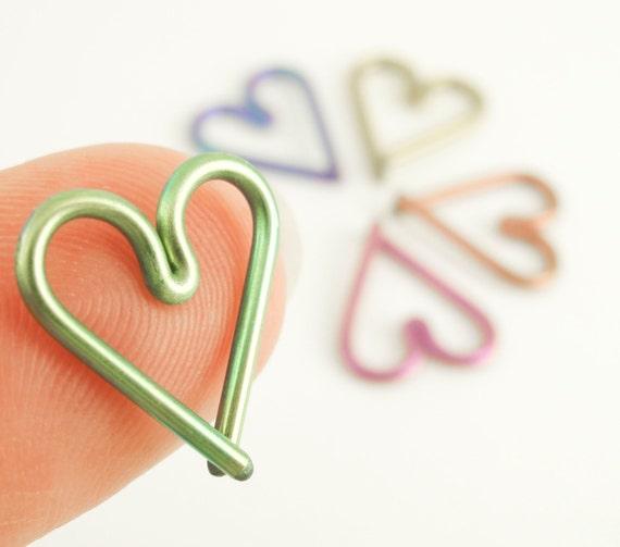 1 Heart - 16 gauge Niobium Heart Piercing - Hypo Allergenic - You Pick Color