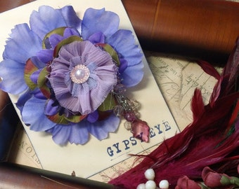 Juliana- purple and olive tribal hair flower