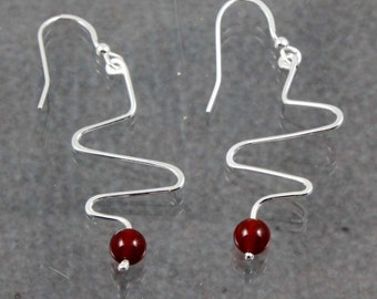 Carnelian Z  Swirl Earrings