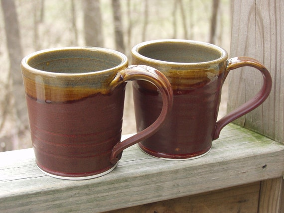 FOR KYLE Autumn Mugs Coffee Tea Hot Chocolate Mug Set of 2 Large Fireluster and Brown Ready to Ship