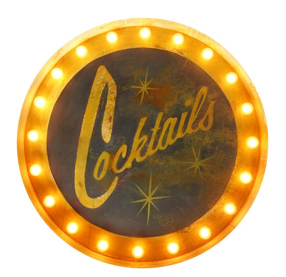 COCKTAILS Large Light Up Marquee Sign