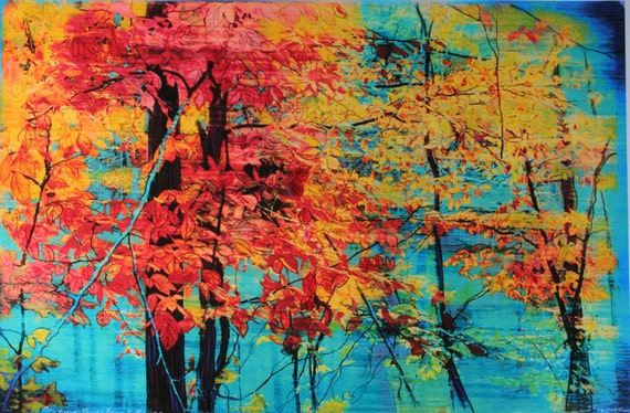 Autumn tapestry, art, photography, nature, tree art, Michigan art, Fall decor, 11x17inches, painting and drawing, Gina Signore