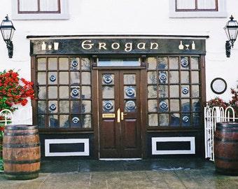 Irish Restaurant, Grogans Pub, Ireland Photograph, Irish Landscape, Fine Art Print Irish Photo Brown And White Office Decor, Wall Print