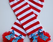 boutique BIG HAT CAT red and white striped leg warmers with attached bows and ruffles