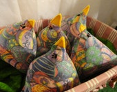 Set of 3 Fabric Chickens - Easter Egg Fabric