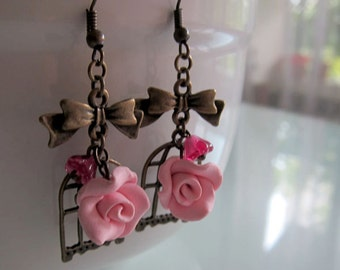 Pink Rose Dangle Earrings - Bird Cage Antique Bronze Earrings - Handmade Polymer Clay Rose Earrings - Pink Shabby Chic Earrings