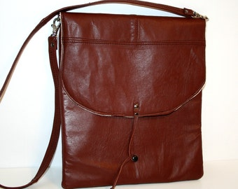 OOAK Recycled Brown Leather iPad Envelope Case Padded Sekani with Shoulder Strap