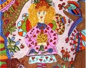 "Fairy Print Whimsical Folk Art ""Curley"", Fantasy, Fairytale, Magic, Enchanted, Vibrant, Colorful. Flowers, Retro, Butterfly, Bird"