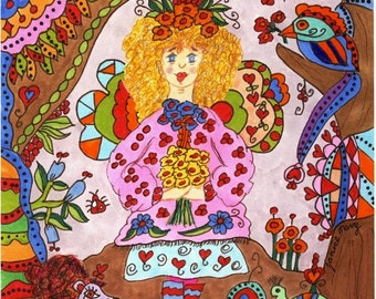 "Fairy Print Whimsical Folk Art ""Curley"", Fantasy, Fairytale, Magic, Enchanted, Vibrant, Colorful. Flowers, Retro, Butterfly, Bird"
