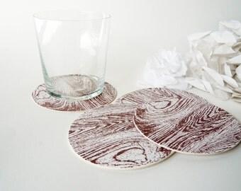6 Faux Bois Paper Coasters - Chestnut