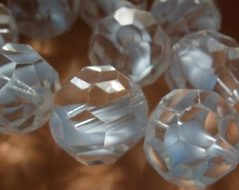 Vintage Glass Beads (1) Sky Blue Givre Large Faceted Focal Bead