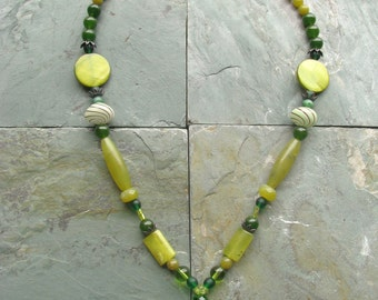 Green Sugar Skull Y Necklace Made with Glass and Natural Stones