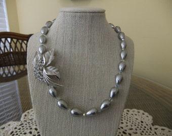 Gray Tear Drop Pearls with Vintage Trifari Rhinestone Brooch