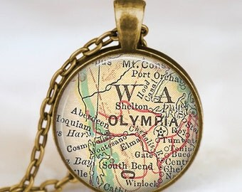 Olympia map necklace, olympia jewelry  pendant, map jewelry gift for men women with gift bag