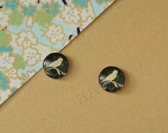Sale - 10er handmade bird cabochons 12mm (12-0740)