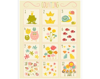 Children's Wall Art / Nursery Decor Number Counting Chart 11x14 inch Poster Print