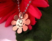 Copper Daisy Handstamped Charm Necklace