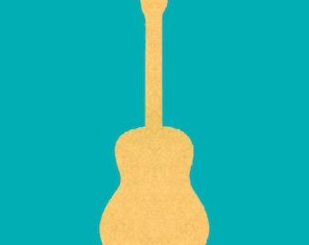 Twelve Inch Acoustic Guitar Mosaic Base Unfinished Craft Shape