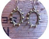 Simple brass oval dot earrings