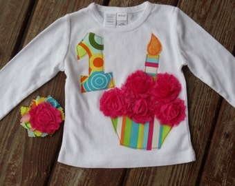 Girls BIRTHDAY - RAINBOW BRIGHTS Shabby HoT PInK RoSe CUPcAKE  tee long or short sleeve  in sizes  6-12-18-24 mth 2-3-4-5-6-7-8