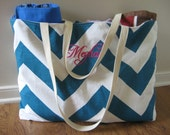 Beach Bag Extra Large - Big Teal & White Chevron Beach Tote - MONOGRAMMED - Water Resistant Lining - Interior Pocket