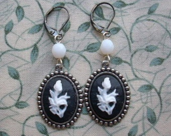 Black White Floral Cameo Gunmetal Earrings