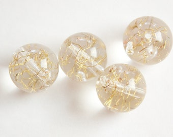 Vintage Clear Acrylic Beads with Gold Confetti 15mm bds850A
