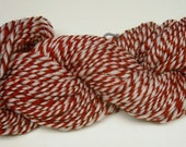 Handspun Merino Wool Yarn, Peppermint Twist, 2ply Red and White 100yds