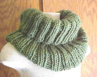 HANDKnIT NECK WARMer/Cowl-Color is ''Medium Thyme Green'', soft Acrylic-Women/Men-FREE SHIPPING