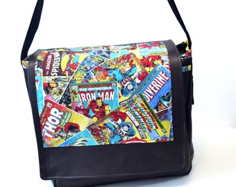 Marvel Comic Book Covers Black Leather Messenger Bag - Marvel Heros Avengers Thor Spiderman Iron Man Hulk