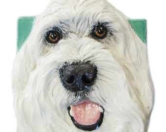 Labradoodle CERAMIC Portrait Sculpture 3D Dog Art Tile Plaque FUNCTIONAL ART by Sondra Alexander Made to order