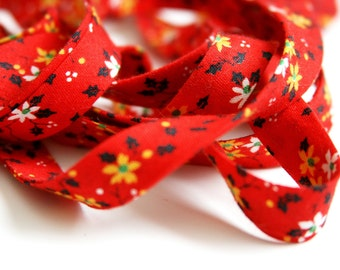 Vintage Bias Trim - SALE - Red - Christmas - 6 yards - Novelty Trim -  Vintage sewing supplies - Craft Supplies